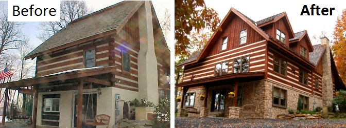 Timber Frame Log Home Addition Construction Lehigh Valley Poconos Pennsylvania, Before And After Pictures