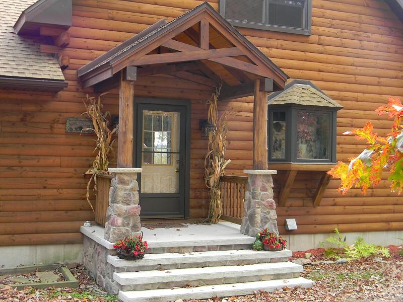 Log cabin homes joy studio design gallery best design for Timber frame porch addition