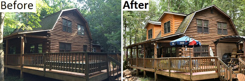 Before And After Log Cabin Home Remodeling Pictures Lehigh Valley Poconos PA.
